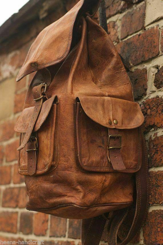 Leather Backpack Men Bag S Shoulder Laptop Travel Rucksack M