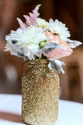 5 Pack Pint Glitter Mason Jars, Wedding Centerpiece Decorations, mason jar