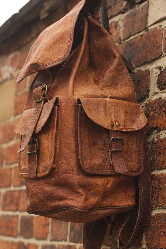 New Charitable Hiking Leather Back Pack Rucksack Travel Bag For Men's and Women's.
