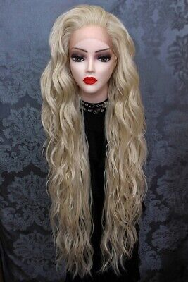 Perücke Langhaarperücke Wig Blond Hellblond Platin Netz Lace - Platin Blonde Perücke