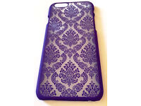 Purple Turquoise Black Hard Back Damask Henna iPhone 6/6s Case Cover + Free Screen Protector