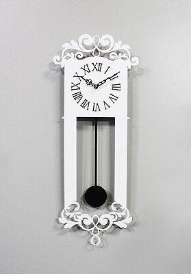 Antique Pendulum Wall Clock Modern Art Design Home Interior Noiseless - White