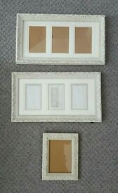 Three faux vintage shabby chic white picture frames