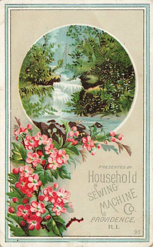 Household Sewing Machine Providence RI Waterfall Flowers Victorian Trade Card