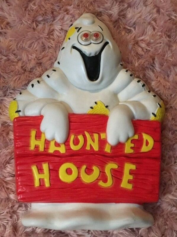 Blow Mold Paper Magic Group Halloween Ghost Light Wall Plaque Decoration 1997