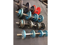 116kg Weights Plates & 8 Dumbells