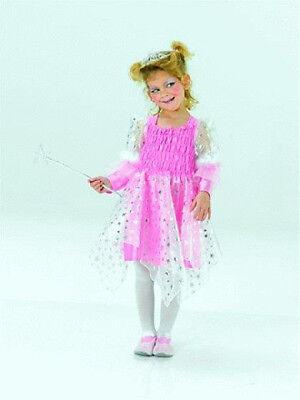 Kostüm Kinderkostüm rosa Fee mit silbernen Feenstab Gr. 116 ()