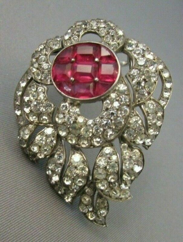 Vintage Art Deco Sterling Fur Clip Glass Rhinestone Fur Clip Brooch Paste 1930's