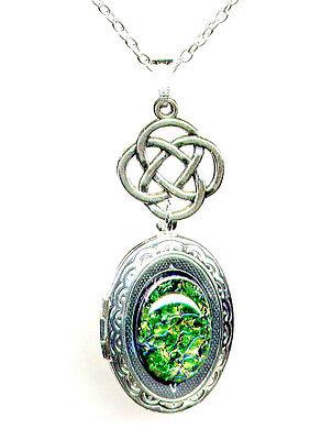 ☘️EMERALD Green☘️FIRE OPAL Dragon Breath LOCKET Necklace CELTIC ☘️Irish Scottish