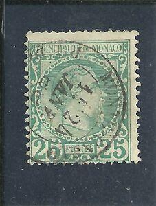"""Monaco - Mi-Nr. 6 FM """"Fürst Charles III"""" 25 C., blaugrün, gestempelt - Laakirchen, Österreich - Monaco - Mi-Nr. 6 FM """"Fürst Charles III"""" 25 C., blaugrün, gestempelt - Laakirchen, Österreich"""