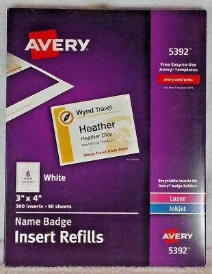 """Avery 5392 Name Badge Insert Refills 3"""" x 4"""" Laser/Inkjet AVE5392 Box of 300 NEW"""