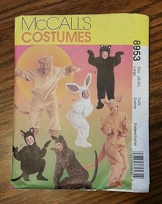 Halloween Costume Pattern McCalls 8953 Adult Large Bunny Bear Cat Kangaroo 38 40 - Cat Halloween Costume Pattern