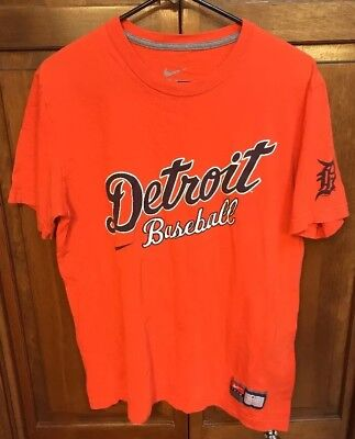 (Nike Team Detroit Tigers MLB Tee T Shirt Short Sleeve Orange Men M)