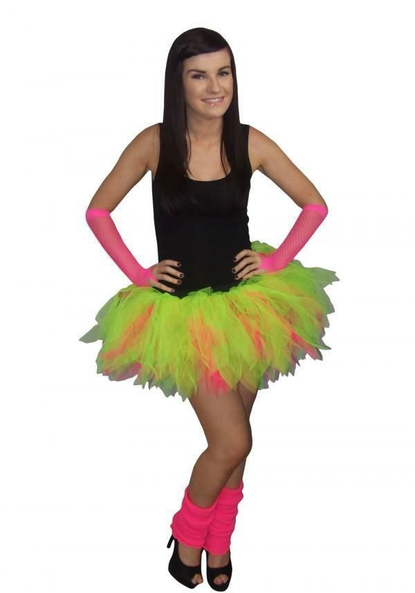Neon Pink Tutu Skirt 80s Fancy Dress Hen Party Fun Run