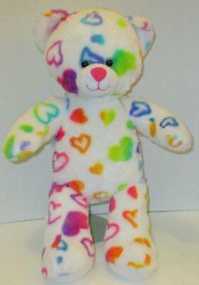 "BUILD A BEAR RAINBOW HEARTS TEDDY 16"" COLORFUL PLUSH STUFFED DOLL TOY"