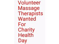 Volunteer Massage Therapists needed for charity health day 15th Nov for 2 hours!