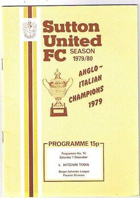 Sutton United v Hitchin Town 1979/80
