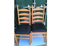 2 Beech Dining Chairs with Padded, Black, Velour Seats - Good Condition.