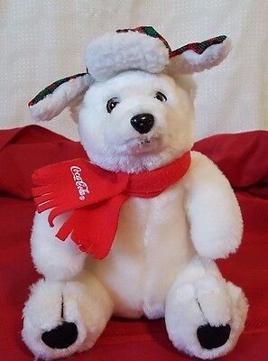 2002 COCA-COLA Plush POLAR BEAR with Plaid Hunting Hat & Red Scarf 10""