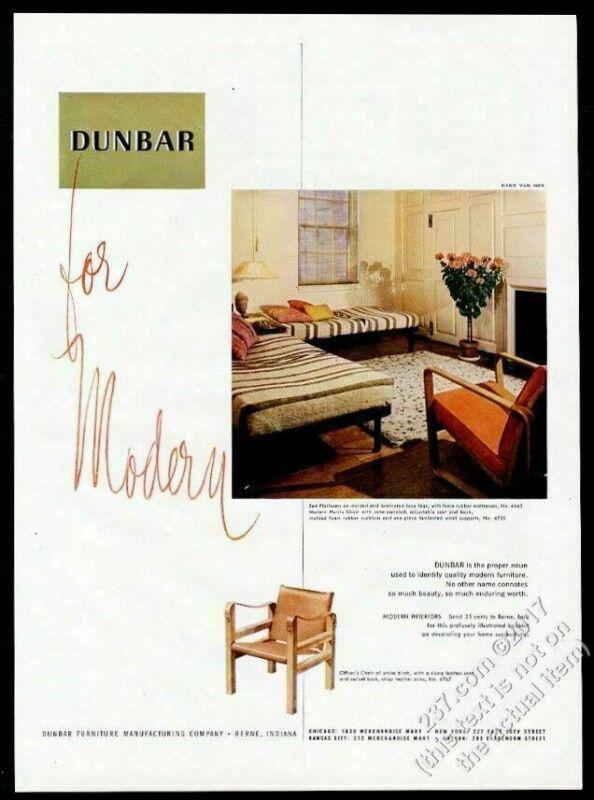 1950 Dunbar modern Edward Wormley bed Morris Chair Officer