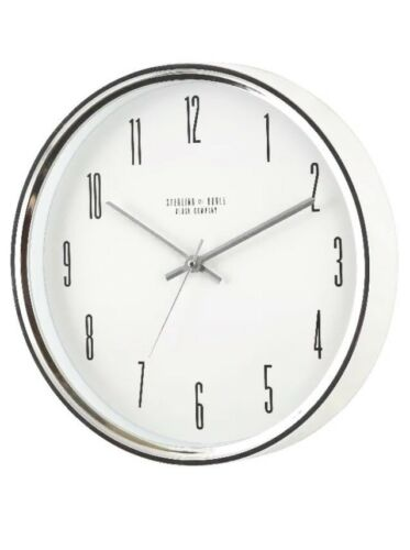 """Mainstays 15.5"""" Chrome Silver Battery Operated Ticking Wal"""