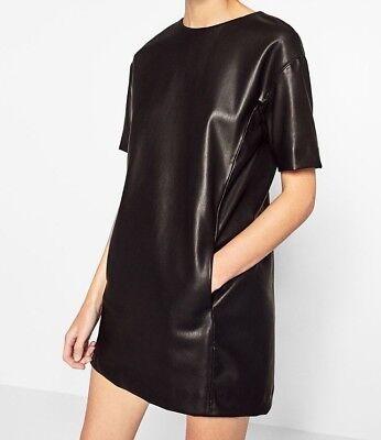 ZARA MINI KLEID KUNSTLEDERKLEID BLACK FAUX LEATHER SHORT STRAIGHT CUT DRESS M L