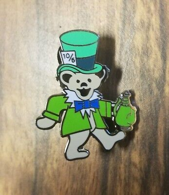 - Grateful dead dancing bear green mad hatter pin lapel festival 420