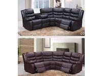 Recliner corner sofa black or brown