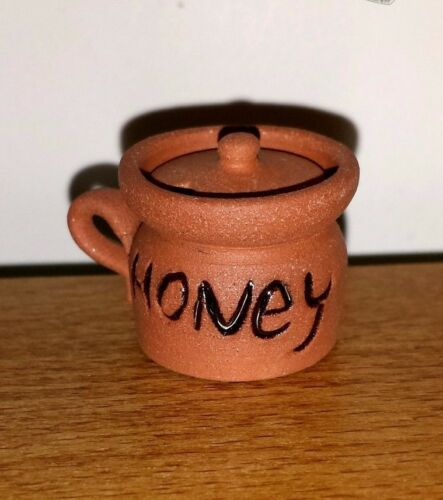Dollhouse miniature ceramic honey pot with lid by Alex Meiklejohn