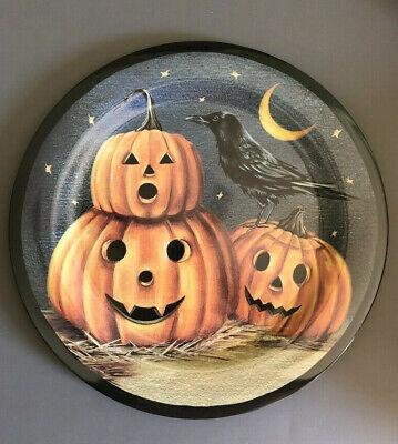 Spooky Halloween Dinner (Halloween Raven Pumpkin Dinner Plates Set of 4 Melamine 11