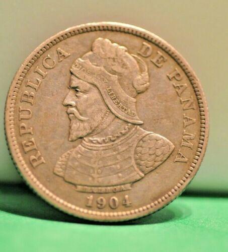 1904 Panama 25 Centesimos de Balboa Very Fine  Silver World Coin