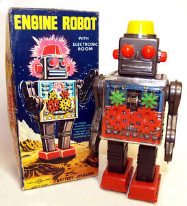 Horikawa Engine Gear Robot Tin Toy 1960's Japan Mint Boxed