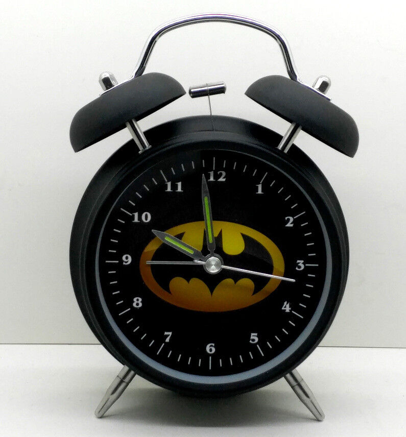 Novelty Cartoon Superhero Round Analog Stand Up Metal Silent Sweep Alarm Clock