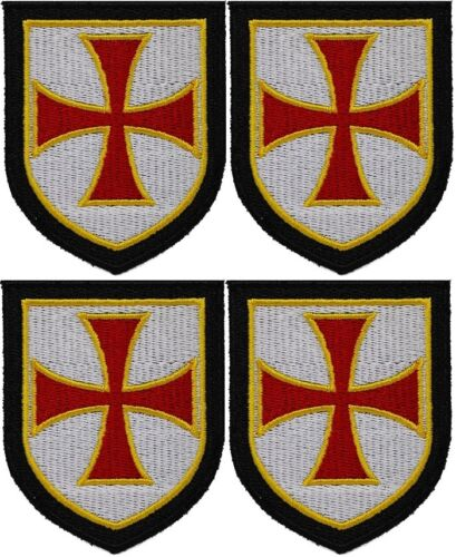 4 x KNIGHTS TEMPLAR RED SHIELD iron-on PATCH embroidered CRUSADES