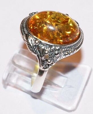 Stunning Cognac Vintage Style Amber Ring on Silver 925