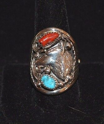 Ring Wolf Turquoise Coral & Sterling Silver By Navajo Artist M Arviso Size 11