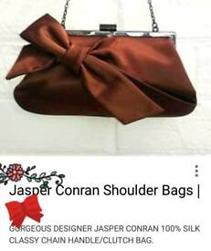 Brown 100% Satin Bag Clutch/ Shoulder