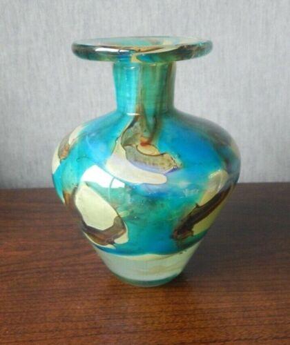 "Vintage Mdina Glass Sandy Brown & Turquoise Blue Tiger Pattern Vase - 6"" Tall"