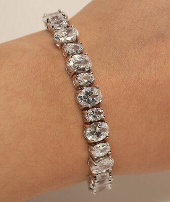 18K WHITE GOLD 2 OVAL DIAMOND TENNIS BRACELET 2 CARAT ANNIVERSARY GIFT