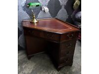 Stunning Unusual Chesterfield Leather Topped Corner Desk Red - UK Delivery