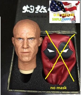 "1/6 Ryan Reynolds Deadpool Head battled NO Mask for hot toys 12"" body ❶USA❶"