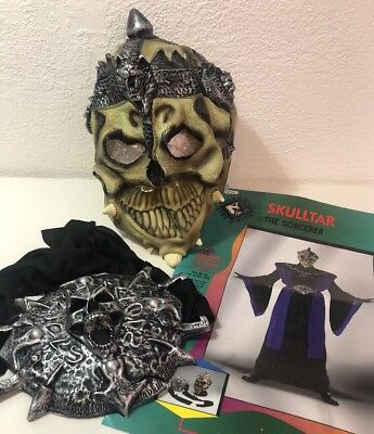 Adult Skull Helmet Latex Crown Mask Skeletor Skulltar Sorcerer + belt buckle - Skeletor Mask