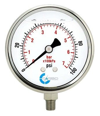4 Pressure Gauge Stainless Steel Case Liquid Filled Lower Mnt 100 Psi
