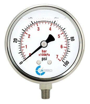 4 Pressure Gauge Stainless Steel Case Liquid Filled Lower Mnt 100 Psi