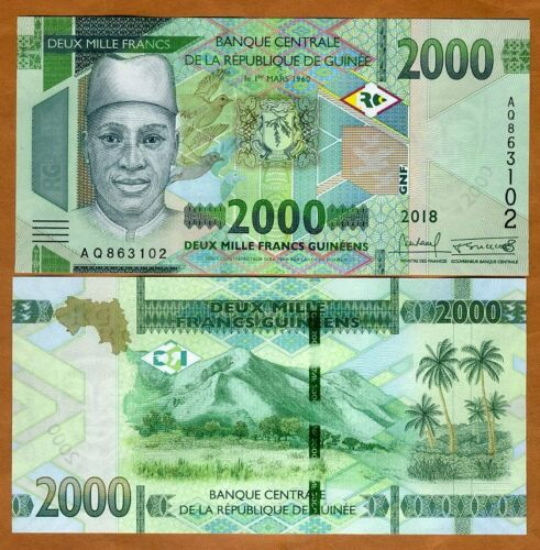 Guinea, 2000 francs, 2018 (2019), P-New, UNC > New Design, New Denomination