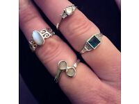 4 lovely real silver rings