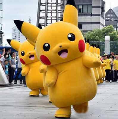 Character Halloween Party Pokemon Go Cosplay game Pikachu Adult Mascot Costume  - Game Character Costume