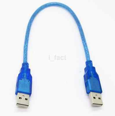 Short 30cm 1 Ft USB 2.0 Type A/A Male to Male Extension Cable Cord Wire Blue Hot