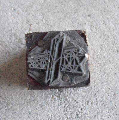 Vintage Small Satellite Wood Metal Letterpress Print Block Stamp