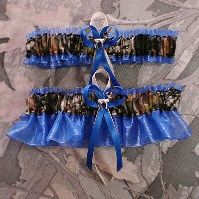 Mossy Oak Royal Blue  Wedding Garter Set Camouflage Camo Deer Hunting Hunter - Camo Garter Set